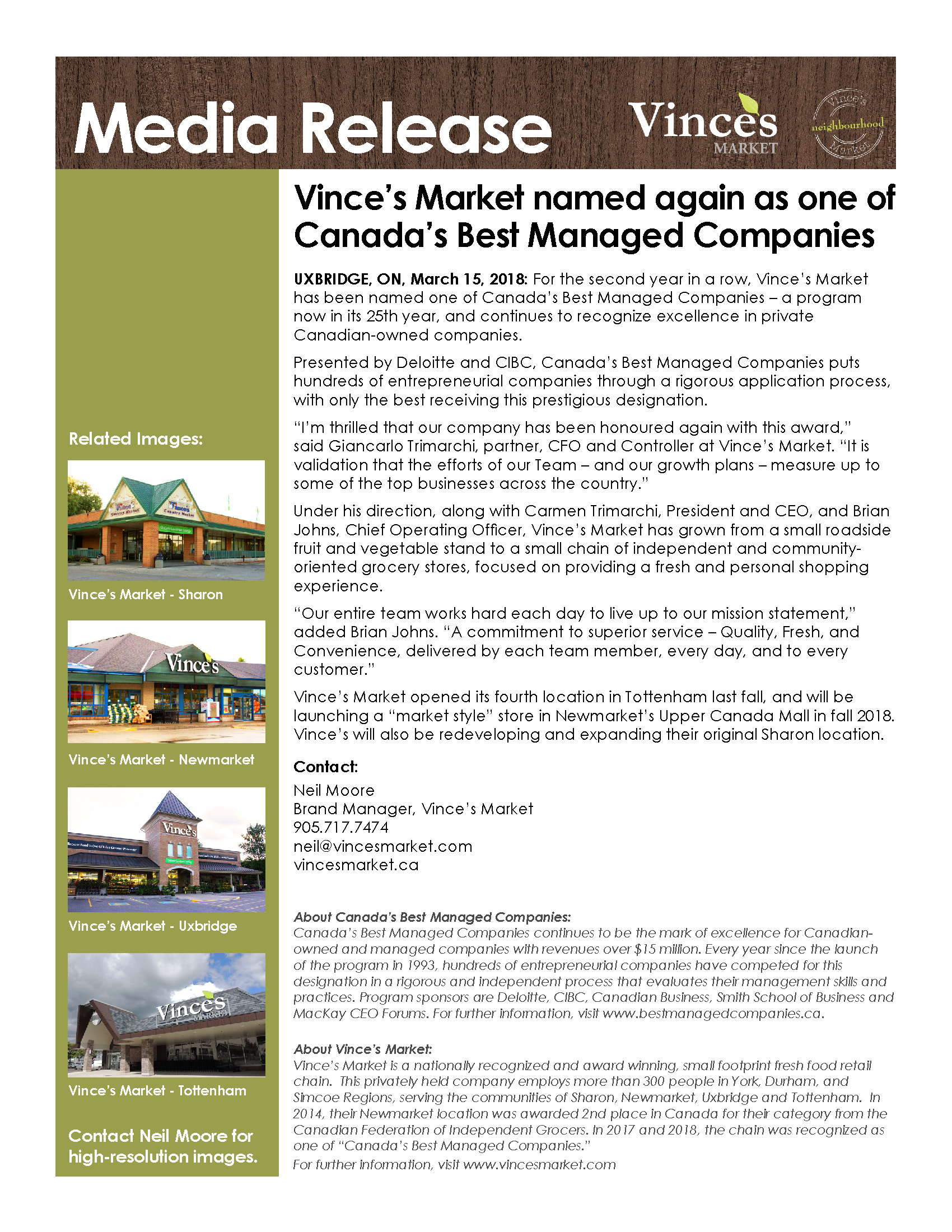 Vince's Market media release- Canada's Best Managed Companies 2018
