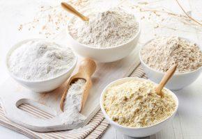 Bowls of gluten free flour (chick peas, rice, buckwheat, amaranth seeds, almond)
