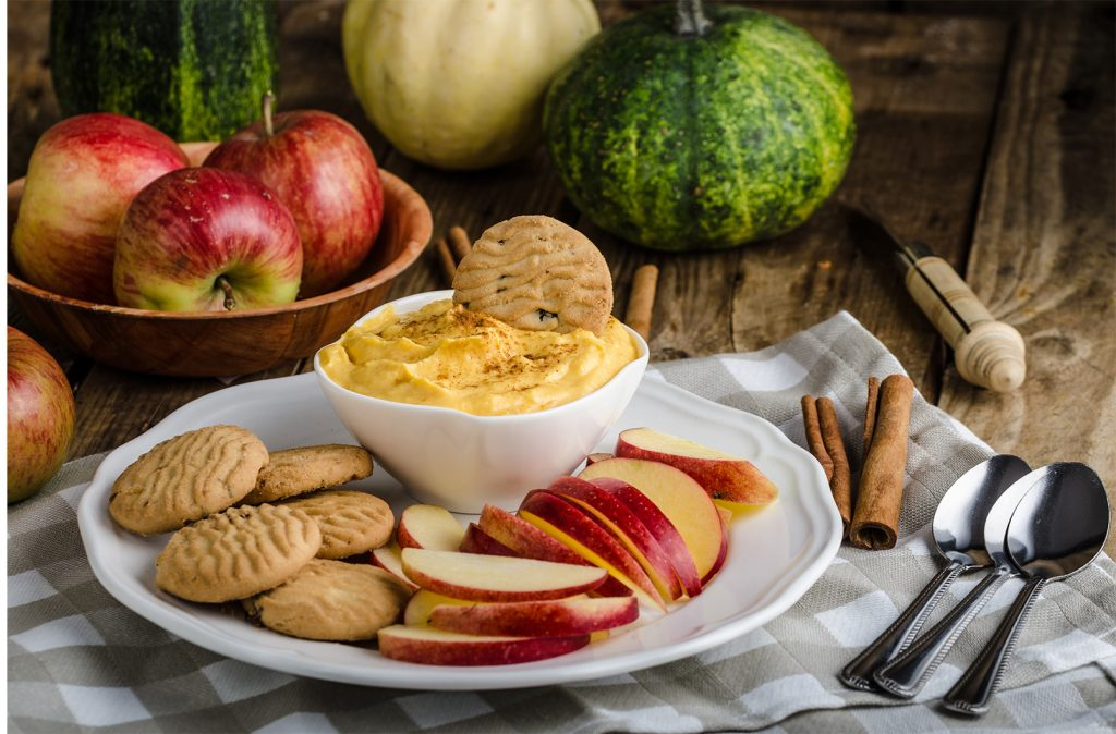 Maple Pumpkin yogurt dip with cinnamon, homemade biscuits and a delicious apple slices